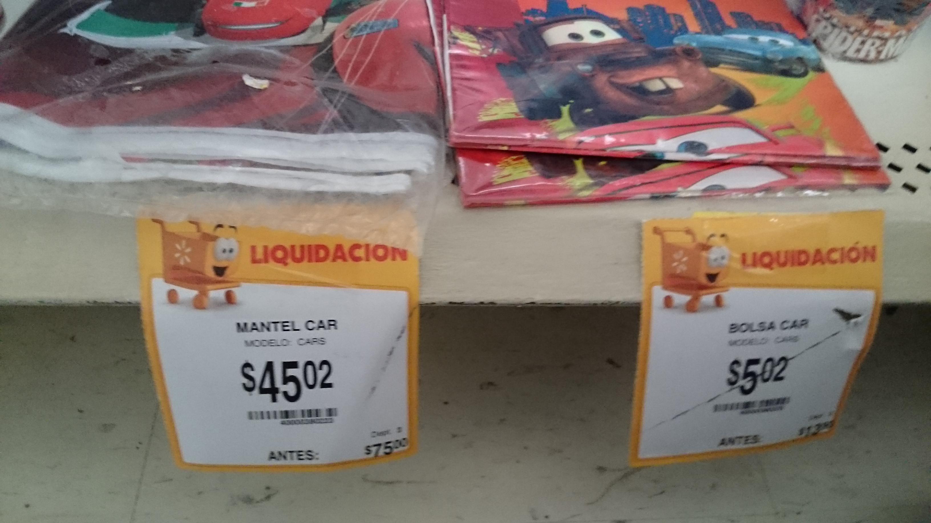 Walmart Jiutepec: mantel para fiesta de cars $45.02 y bolsas para dulces $5.02