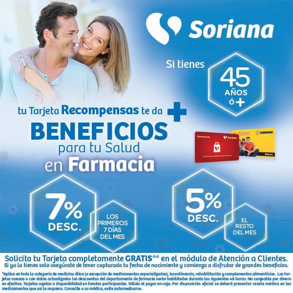 Soriana: 5 ó 7% de descuento en farmacia para adultos de 45 años o más