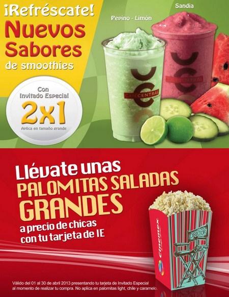 Cinemex: 2x1 en smoothies y palomitas grandes a precio de chicas para IE