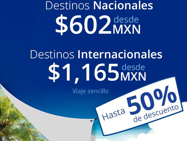 Interjet: destinos nacionales desde $602 e internacionales desde $1,165 -Solo 3 de marzo-
