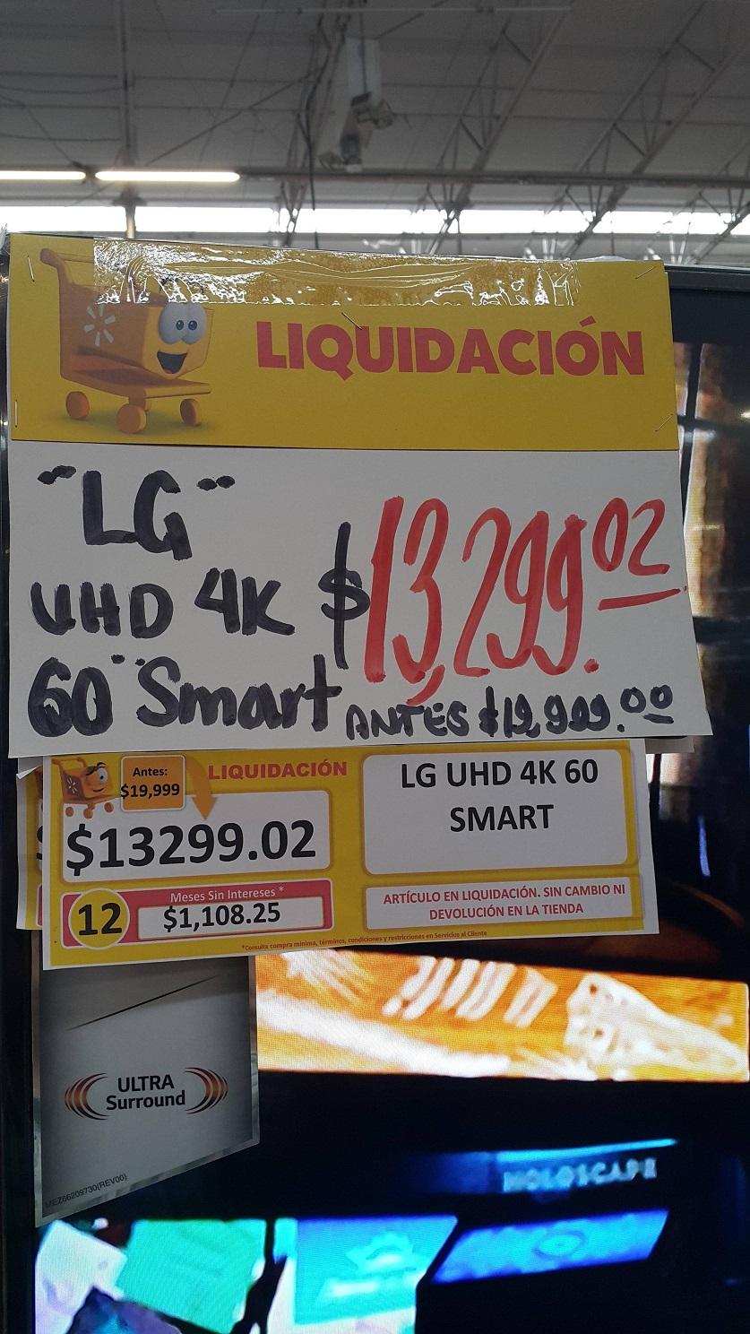 """Walmart Mérida City Center : televisión LG 60"""" 4k modelo 60UF7300 en segunda liquidación a $13,299"""