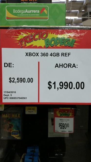 Bodega Aurrerá Observatorio: Consola Xbox 360 4GB Refurbished a $1,990