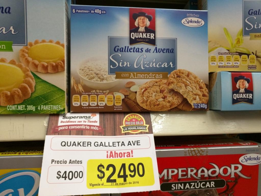 Superama: galletas Quaker de avena a $24.90