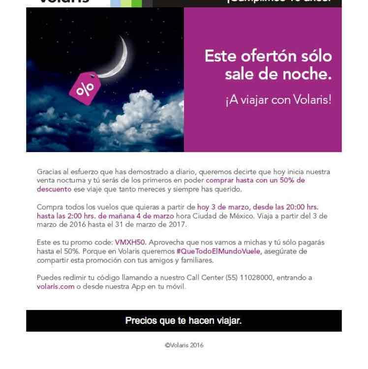 Promoción Volaris aniversario: Venta Nocturna a partir de las 8