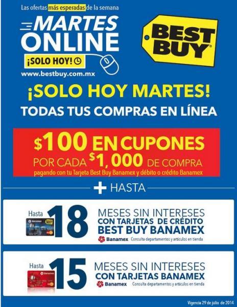 Best Buy martes online Banamex: $100 en cupones x cada $1,000, meses sin intereses y más