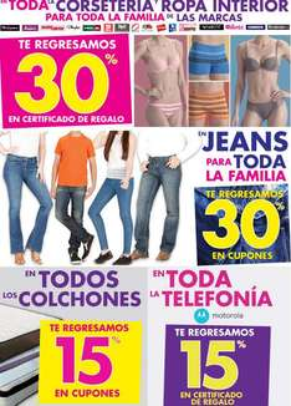 Suburbia: bonificación en ropa interior, jeans, celulares Motorola y más
