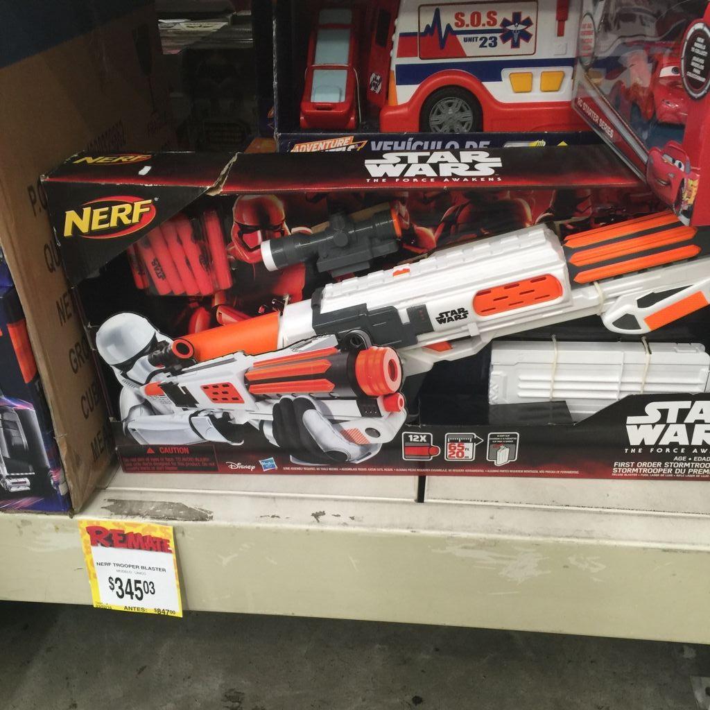 Bodega Aurrerá: Nerf en liquidación, Star Wars Stormtrooper Blaster a $345.03, Zombie Strike a $445.03