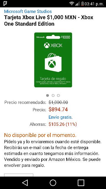 Amazon: Tarjeta xbox live $1,000 (no disponible por ahora)