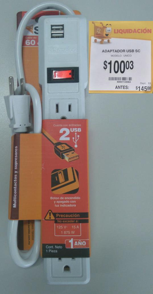 Walmart: Multicontacto con puertos USB a $100.03