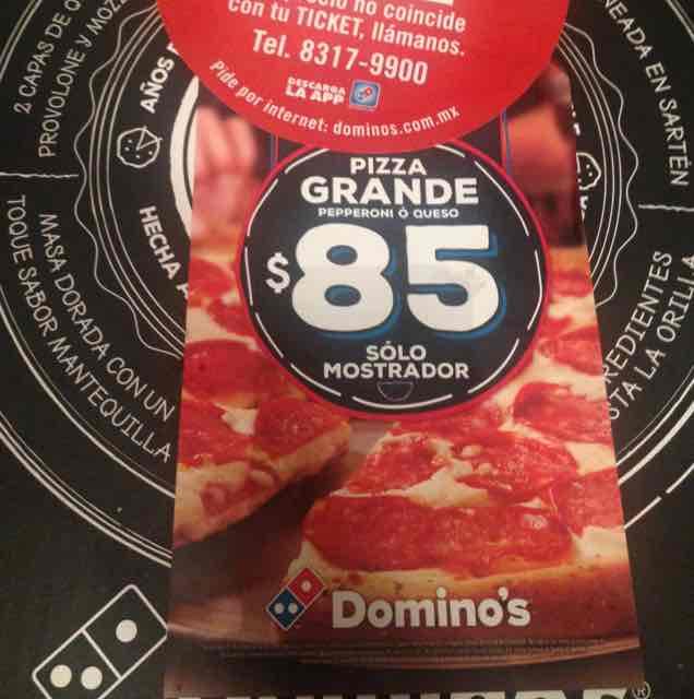 Domino's Pizza: pizza grande de peperoni a $85 (solo mostrador)