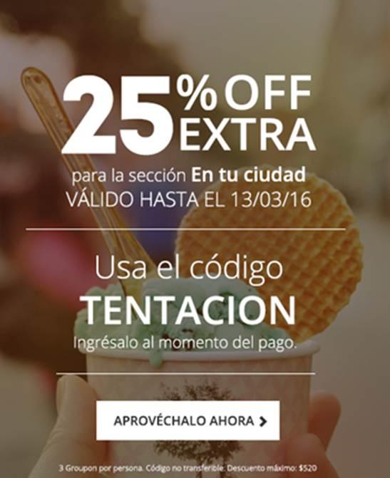 Groupon: 25% extra en cupones en tu ciudad (clientes seleccionados)