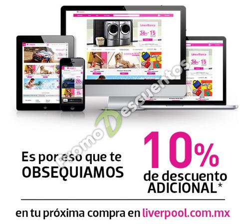 Liverpool: cupón de 10% de descuento en toda la tienda en línea