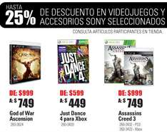 RadioShack: 3x2 en pilas recargables, Just Dance 4 $449, God of War Ascension $749 y +