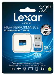 Amazon: Memoria MicroSD 32Gb Lexar 633x High Performance UHS-I a $235