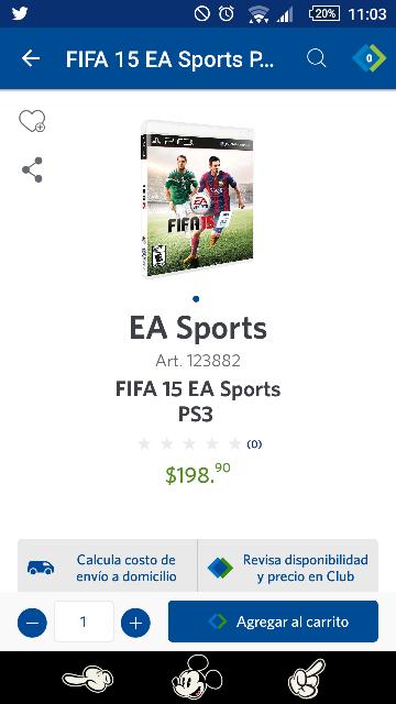 Sam's Club en línea: FIFA 15 para Playstation 3 a 198.99