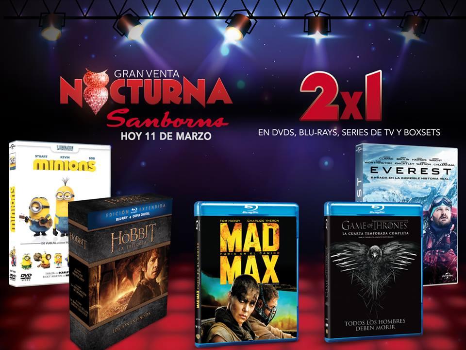 Venta Nocturna Sanborns 11 de marzo [actualizado: 2x1 en películas y series]