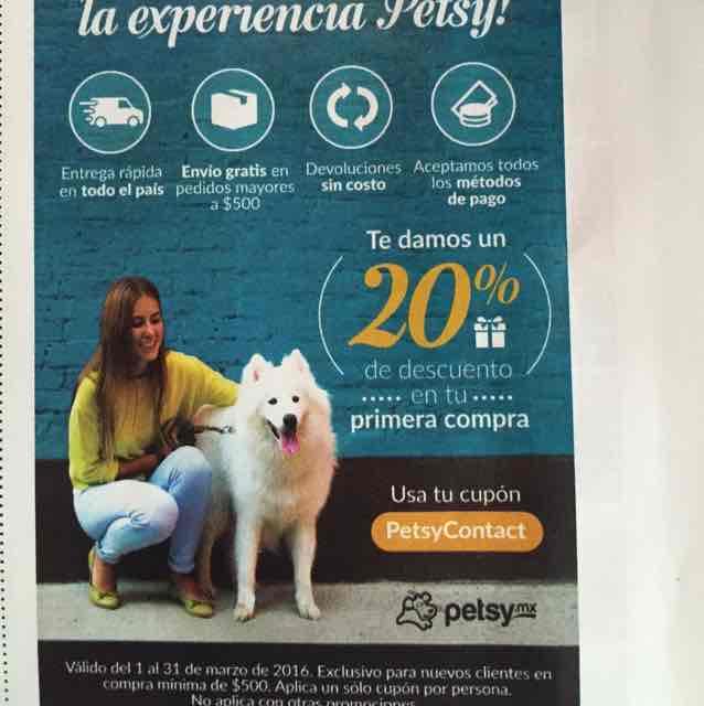 Petsy: cupón de 20% de descuento hasta el 31 de marzo (compra mínima $500)