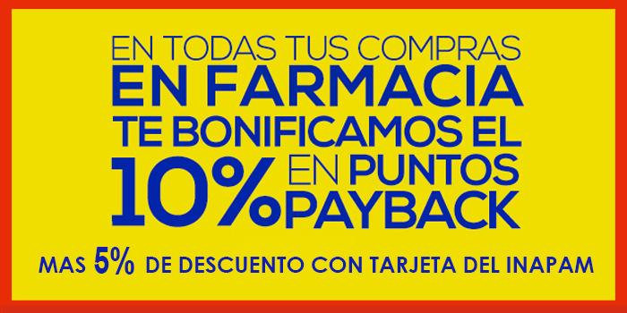 Comercial Mexicana: Farmacia 10% Bonificación en Puntos Payback y 5% Descuento Adicional con Inapam