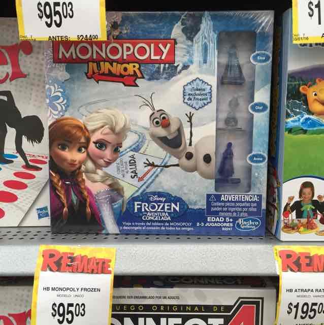 "Bodega Aurrerá: Monopoly Frozen liquidación a $95.03, figura Star Wars de 12"" a $55.03"