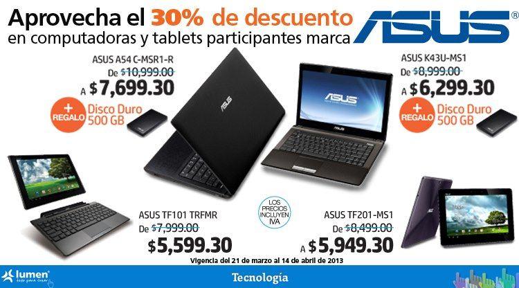 Lumen: 30% de descuento en computadoras y tablets Asus y disco duro de regalo