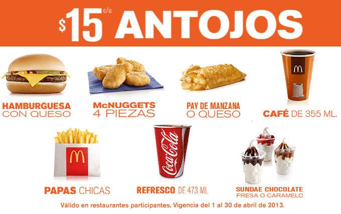 McDonald's: hamburguesa con queso o McNugges de 4 a $15, McPollo $22 y más
