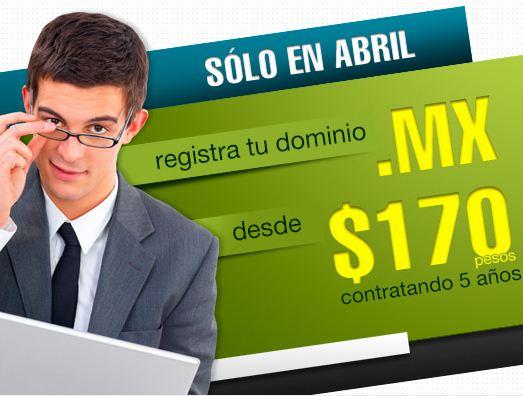 Dominios .mx desde $129 por año