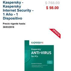 Best Buy en línea: Antivirus Kaspersky Internet Security 1 Año a $98