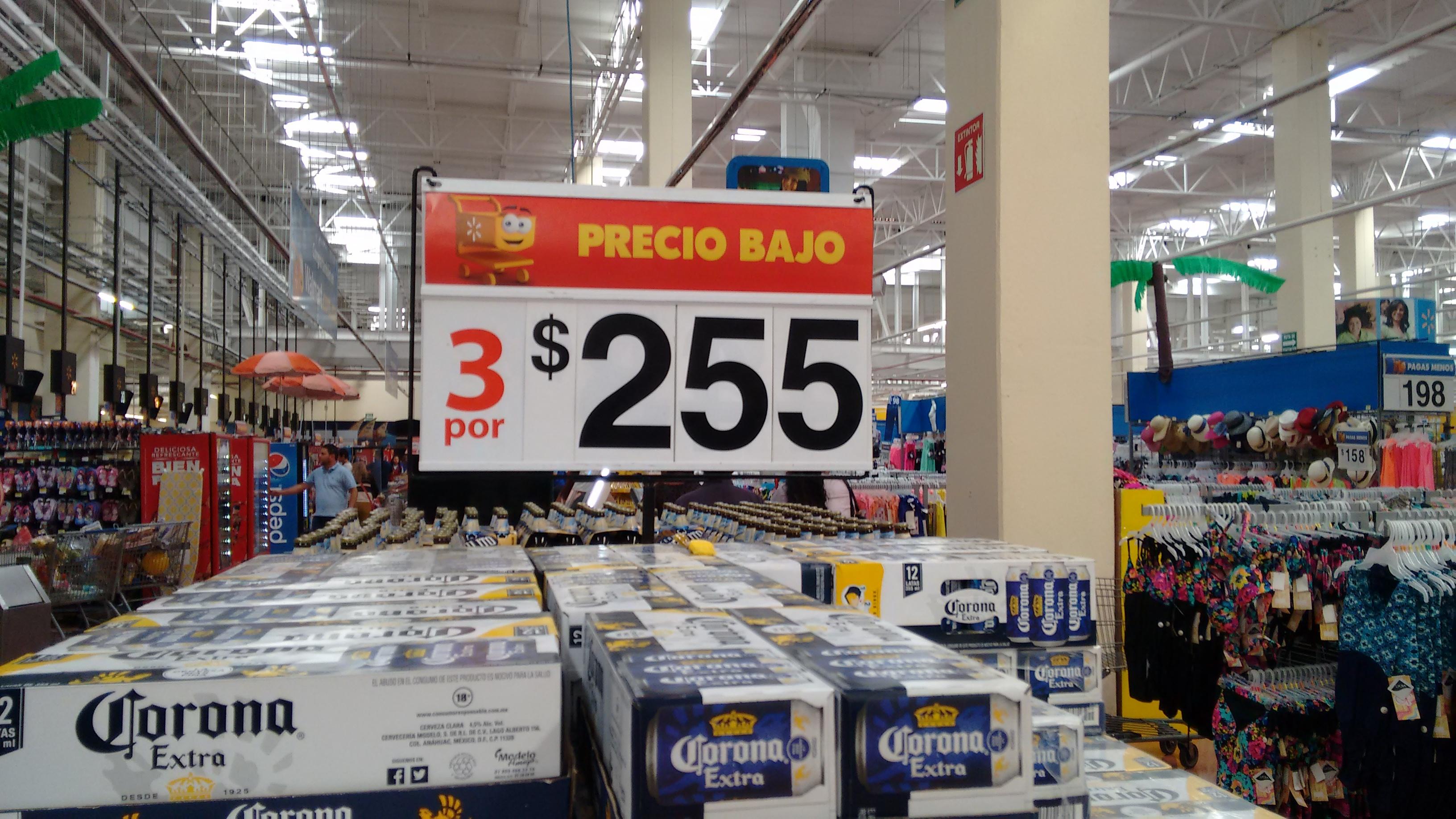 Walmart: cerveza Corona 3 doce pack por $255 (igual aplica online)