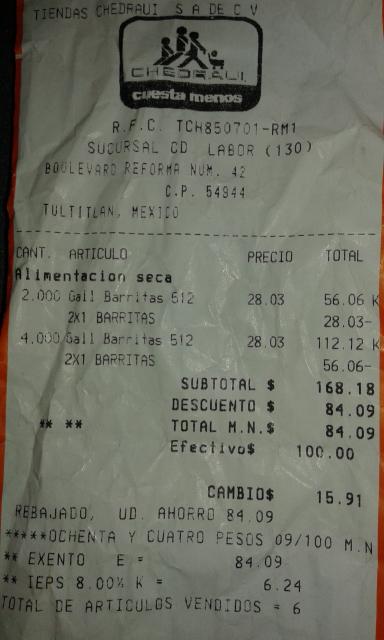 Chedraui CD Labor: 8 barritas marinela de piña y fresa de 600 gr a $14