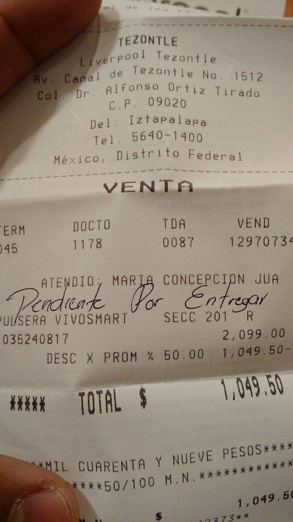 Liverpool Plaza Oriente: garmin vivosmart a $1,049