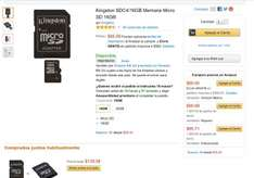 Amazon MX: memoria micro sd kingstone clase 4 de 16 gb y 8gb
