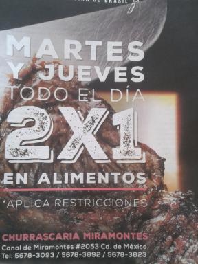 Churrascaria Miramontes 2x1 en alimentos
