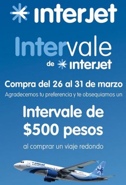 Interjet: vale de $500 al comprar vuelo redondo