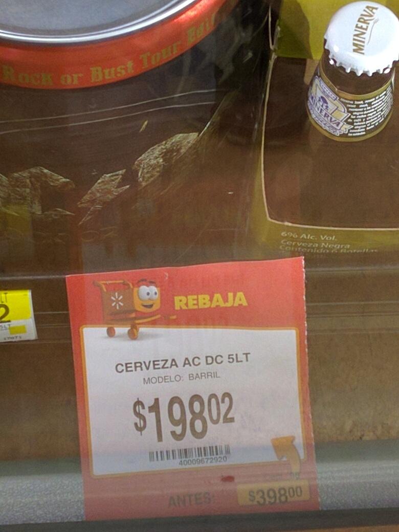 Walmart La Cima: Barril de cerveza AC\DC 5 LTS a $198.02 y Esmerilador a $225.02