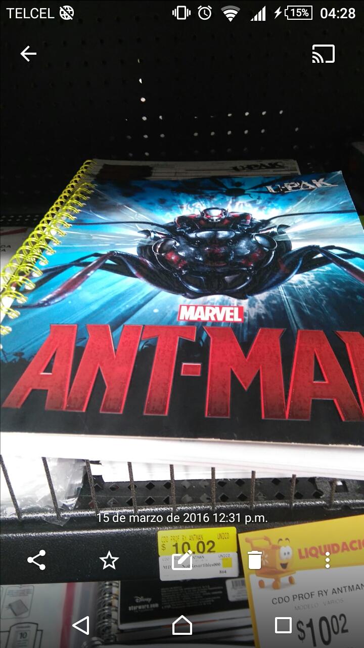 Walmart León Gto: Libreta profesional de Ant-Man a $10.02