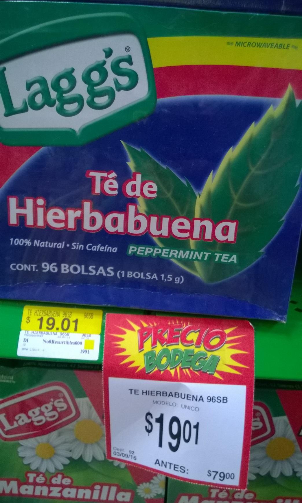 Bodega Aurrerá: Té de hierbabuena Lagg's con 96 sobres de $79 a $19.01
