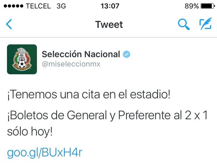 Ticketmaster: 2x1 boletos Selección Nacional México vs Canadá