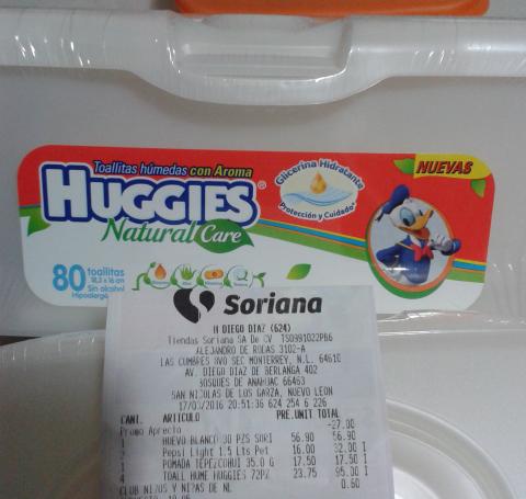 Soriana Hiper Diego Diaz: Toallitas humedas a $23.75