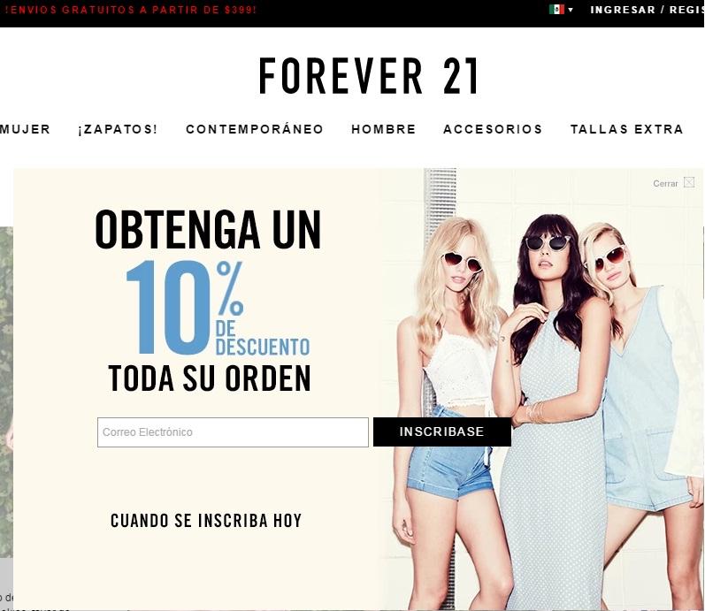 Forever 21: envíos gratuitos en compras mayores a $399
