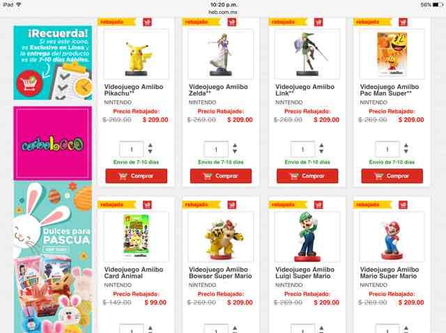 HEB EN LÍNEA: rebajas en artículos de Nintendo
