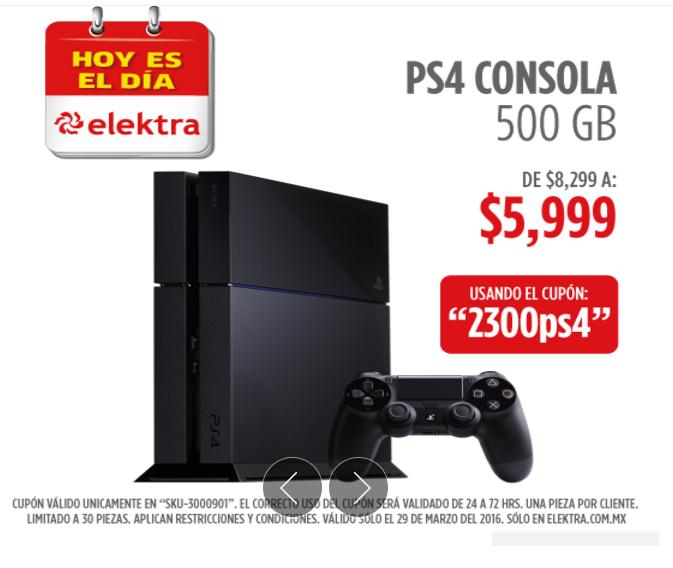 Elektra en línea: Playstation 4 a $5,999 con cupón