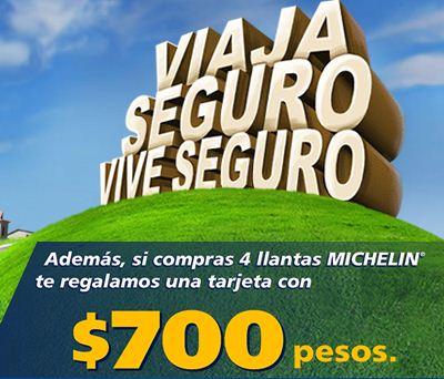Michelin: tarjeta con $700 en la compra de 4 llantas