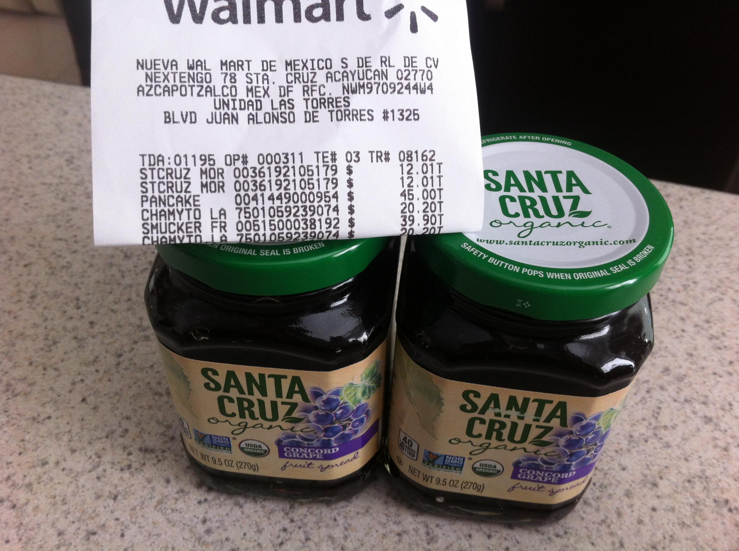 Walmart León Las Torres: Mermelada Orgánica (de moras) Santa Cruz a $12.01