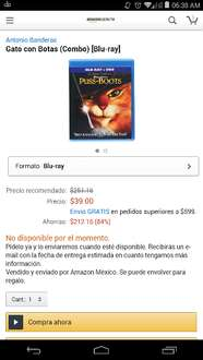 Amazon MX: Combo Blu-ray El gato con botas a $39