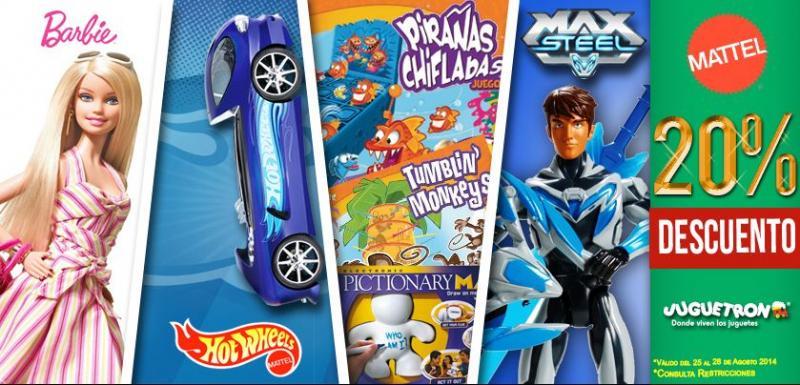 Juguetron: 20% de descuento en Barbie, Max Steel, Hot Wheels y más