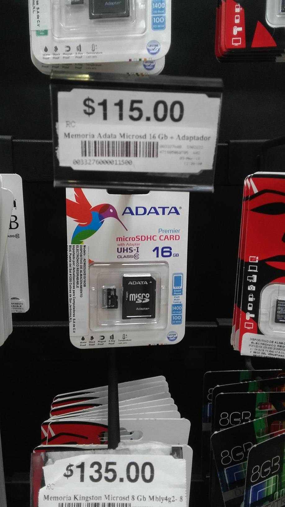 Chedraui: Memoria MicroSD Adata 16Gb clase 10 con adaptador a $115