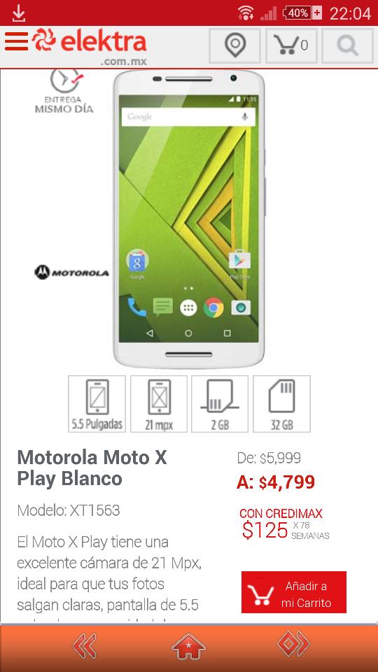 Elektra en línea: Motorola Moto X Play a $4,799