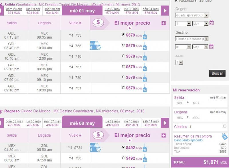 Volaris: 50% de descuento en vuelos para mayo y junio (DF-GDL $1,071 redondo)