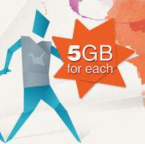 5GB gratis en la nube y 5GB extra por cada recomendado en Copy.com