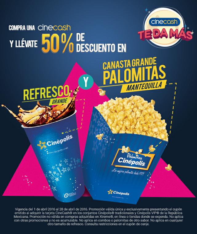 Cinépolis: Palomitas y refresco al 50% comprando Cinecash